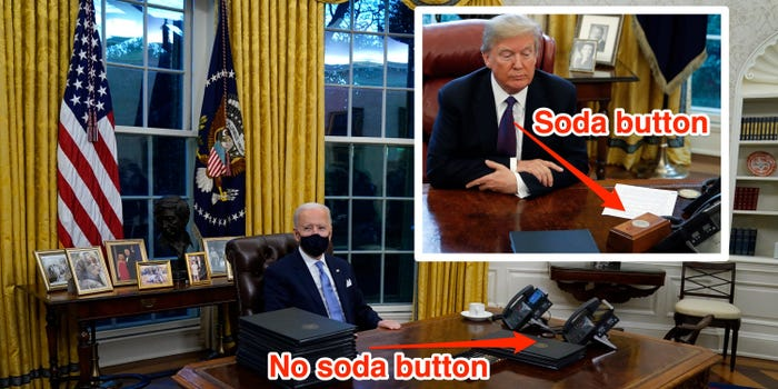 Biden appears to remove Trump's Diet Coke button in the Oval Office -  Business Insider