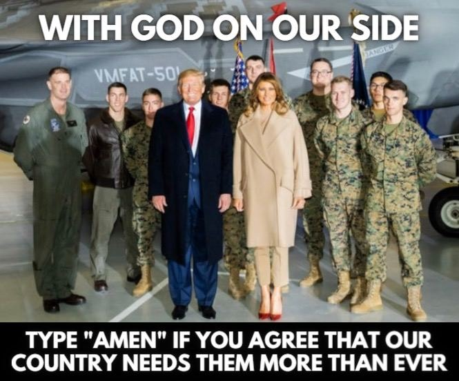 """May be an image of 9 people and text that says 'WITH GOD ON OUR SIDE VMFAT-50 TYPE """"AMEN"""" IF YOU AGREE THAT OUR COUNTRY NEEDS THEM MORE THAN EVER'"""