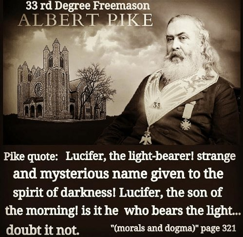 """Ⓥ NAP Paul Ⓐ on Twitter: """"33° Luciferian Albert Pike was the Grand  Commander of the Supreme Council of the Southern Jurisdiction from 1859  until death in 1891. This """"Mother Supreme Council"""