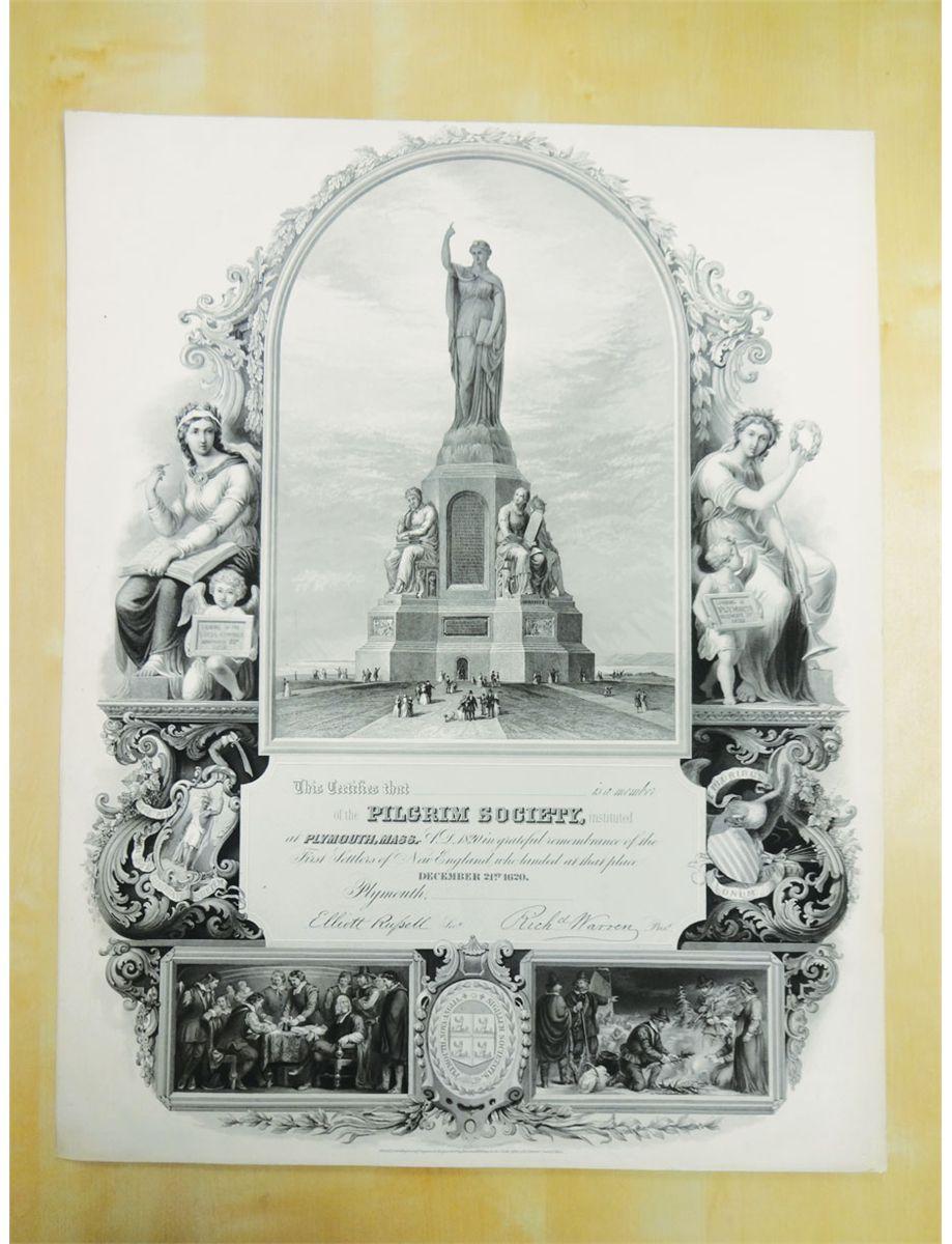 Pilgrim Society Oversized Unissued Membership Certificate.