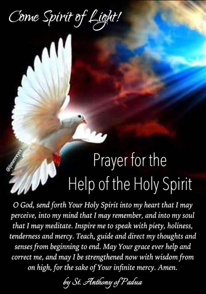 Holy Spirit Prayers | Holy spirit prayer, Spiritual prayers, Come holy  spirit prayer