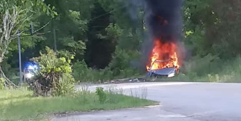 a close up of a fire: A local woman appears to have captured the scene of the blazing car in this Facebook video. Sarah Wilson/Facebook