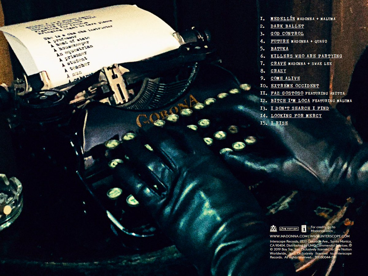 """Agent 23 on Twitter: """"The 'Corona' typewriter on Madonna's 2019 album. A  verification directive to our Illuminati cells and operatives in the field  -- go to your stations and prepare. The Great"""