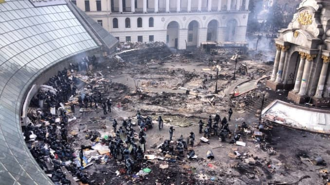 Independence Square in Kiev, Ukraine, on Wednesday, after protesters set fire to a camp in a last-ditch effort to resist converging riot police.