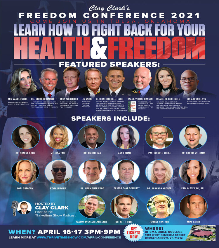 Hello America.. time to Reopen !  Join us April 16-17 in Tulsa OK for the Reopen America Tour kickoff with the Health and Freedom Conference.